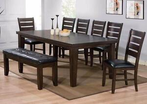 BRAND NEW!! ESPRESSO FINISH, HARDWOOD SOLIDS CONSTRUCTION 6 Pc DINING SET