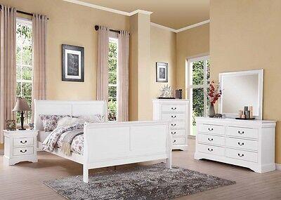 Antique Brass Hardware 4pc White Bedroom Set Full Bed Dresser Mirror Nightstand