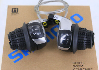 Grip Shifter Set - Shimano RevoShift SL-RS45 3 x 7 Speed Bike Grip Shifter Set New in Box