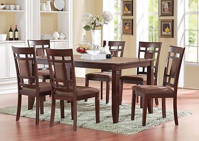 Modern Contemporary Design Cherry Finish Chocolate Microfiber 7pc Dining Set Cherry Finish Contemporary Dining Table