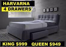 Queen, King Bedroom Bed Four Drawers Fabric Model Harvarna Sumner Brisbane South West Preview