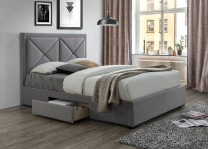 Xavier Double Bed Frame With 2 Side Drawers AV At Both Showrooms