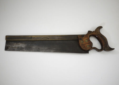"""Antique Drabble & Sanderson 14"""" Brass Backed Tapered Tenon Saw - London"""