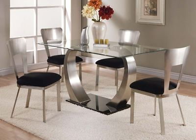 Acme Furniture Camille 5 Piece Glass & Metal Dining Room Table (Acme Furniture Set Table)