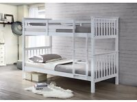 WHITE BUNKBED NEVER ENDING STORY IN WHITE SOLID WHITE PINE WOOD TWIN BUNK BED FRAME BEDROOM