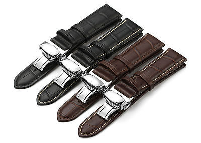 Alligator Calf Watch Band - 18-24 mm Calf Leather Strap Alligator Grain Watch Band Butterfly Deployant Clasp