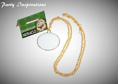 Gentleman's Monocle with Gold Chain Fake Fancy Dress Accessory GB Old - Monocle Kostüm