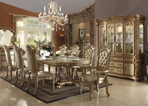 Acme Vendome Traditional 9 Piece Gold Dining Set Furniture 63000