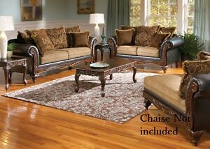 Serta Ronalynn Formal Antique Style Luxury Sofa U0026 Love Seat Living Room Set  USA