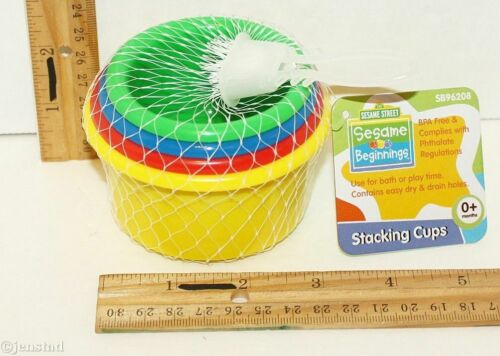 ONE SET - SESAME STREET BEGINNINGS - STACKING 4 CUPS TOY GAME FOR 0+ BABY 2012