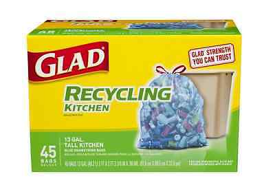 Glad Recycling Tall Kitchen Drawstring Trash Bags, 13 Gallon, Blue 45 ea (2pk)