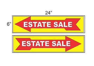 Estate Sale Arrow Yellow Red 6x24 Plastic Signs Buy 1 Get 1 Free 2 Sided
