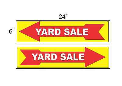 Yard Sale Arrow Yellow Red 6x24 Plastic Signs Bogo Double Sided