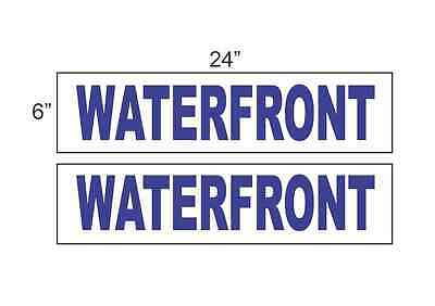 Waterfront Blue 6x24 Real Estate Rider Signs Buy 1 Get 1 Free 2 Sided
