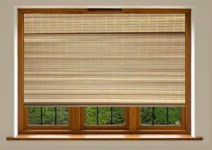 Blackout Roman Blinds - Natural Bamboo 120 CM X 183 CM - 4 x 6 FT Brand New !