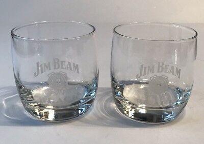 Jim Beam Black Gift Glasses Low Ball Rocks Frosted White Brand Logo Set Of 2