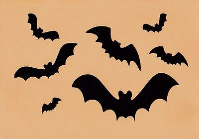 Halloween Stencil Bats Large and Small Assorted Paint on Fabric, Pumpins, Wood