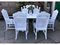 Dining Table & 6 Chairs ~ DOUBLE EXTENDING ~ EASILY SEATS 8