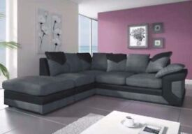 ❤💗❤BLACK/GREY OR BROWN/BEIGE❤❤New Double Padded Dino Jumbo Cord+Leather Corner Or 3+2 Sofa L/R Hand