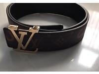 Supreme X Louis Vuitton LV Belt Brown Gold Buckle Leather