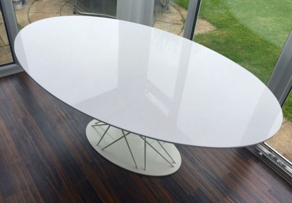 Mint Condition Habitat Mikado Oval White Gloss Design Dining Table