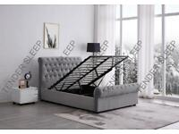 furntiure in stores-King Size Plush Velvet Ottoman Storage Sleigh Bed Frame in different Colors