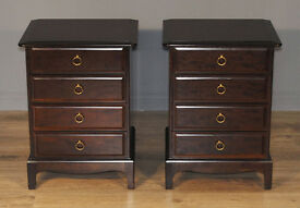 Pair Of Two 2 Good Quality Stag Minstrel Vintage Bedside Cabinets With Drawers