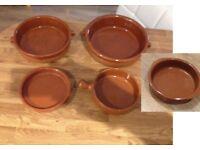 5x earthenware tapas dishes