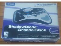 SHADOWBLADE ARCADE STICK. FOR PS2 AND PLAYSTATION. IN BOX, GOOD CONDITION.