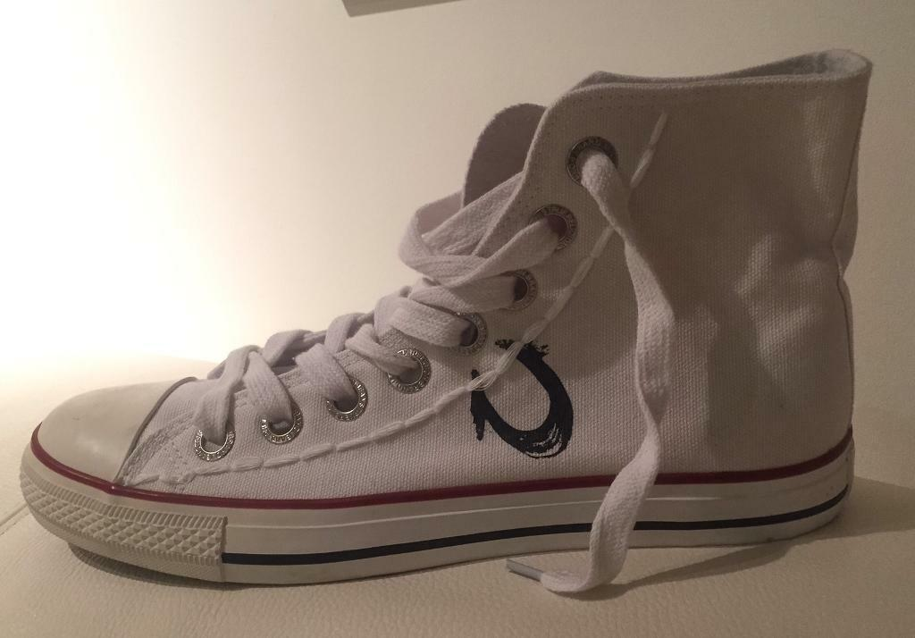 e1c686b3d Brand new authentic men's True Religion converse style high top trainers.  White. Size 10