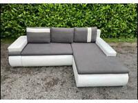 FREE DELIVERY 🚚 DUNELM GREY & WHITE FABRIC L-SHAPED CORNER SOFA BED GOOD CONDITION