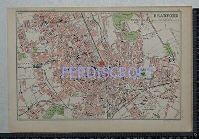 1904 Vintage Bartholomew Map Plan of Bradford, Yorkshire