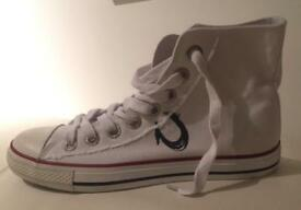 Brand new authentic men's True Religion converse style high top trainers. White. Size 10 UK