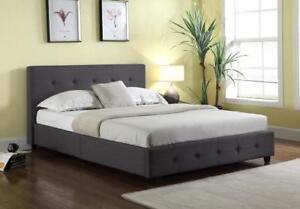 Brand New! Grace Upholstered Linen Platform Bed ! Same Day Pickup in Kamloops!