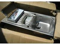 Brand New in Box 1.5 Bowl Stainless Steel Kitchen Sink and Tap Set