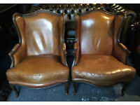 Pair of tan leather Chesterfield armchairs...Louis XV