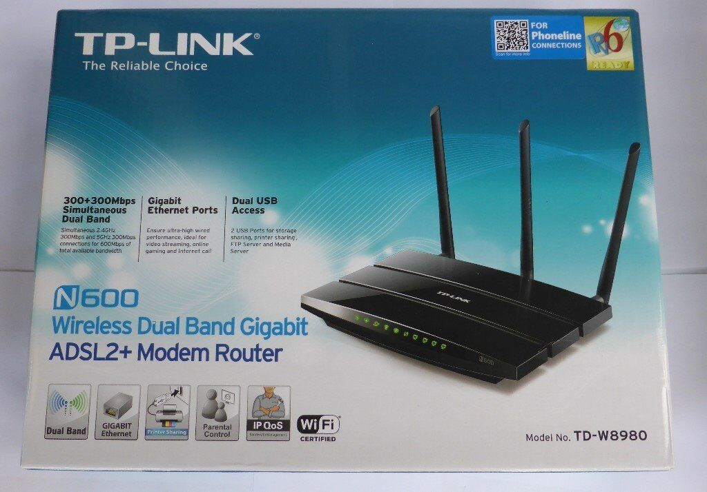 TP-Link N600 TD-8980 Wireless Dual Band ADSL2+ Modem Router   in ...