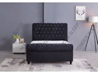 BEAUTIFUL DESIGN--- VELVET FABRIC SLEIGH OTTOMAN DOUBLE SIZE BED FRAME IN BLACK SILVER