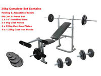 Weight Training Bench Barbell & Dumbbell Complete Set Cast Iron Plates: Brand New