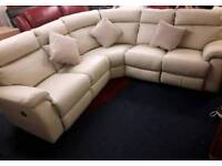 BRAND NEW * LAZ BOY recliner corner sofa *CREAM LEATHER *