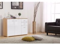 High Gloss White on oak 3 Doors 2 Drawers Sideboard / Cupboard / Buffet Solo / Chest