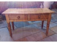 ANTIQUE SOLID PINE VICTORIAN KITCHEN SIDE TABLE WITH 2 DRAWERS