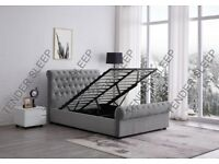 High Quality - Sleigh Velvet Double Bed/King Size Bed Frame Storage Option Available