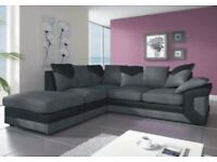 🌷💚🌷 FLAT 20 % OFF 🌷💚🌷NEW DINO SOFAS 3+2 SEATER JUMBO CORD AND LEATHER GREY BLACK & BEIGE BROWN