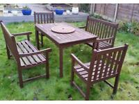 Solid wood patio table, 2 chairs and 2 benches