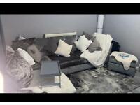 Velvet grey sofa