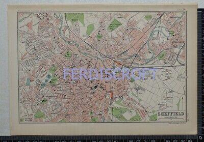 1904 Vintage Bartholomew Map Plan of Sheffield