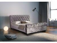Luxurious Padded Crushed Velvet Sleigh bed
