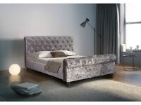 The luxurious padded crushed velvet sleigh bed - Double