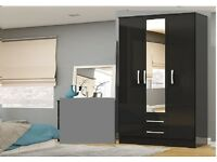 BRAND NEW 3 DOOR WARDROBE WITH MIRROR AVAILABLE IN BLACK OR WHITE